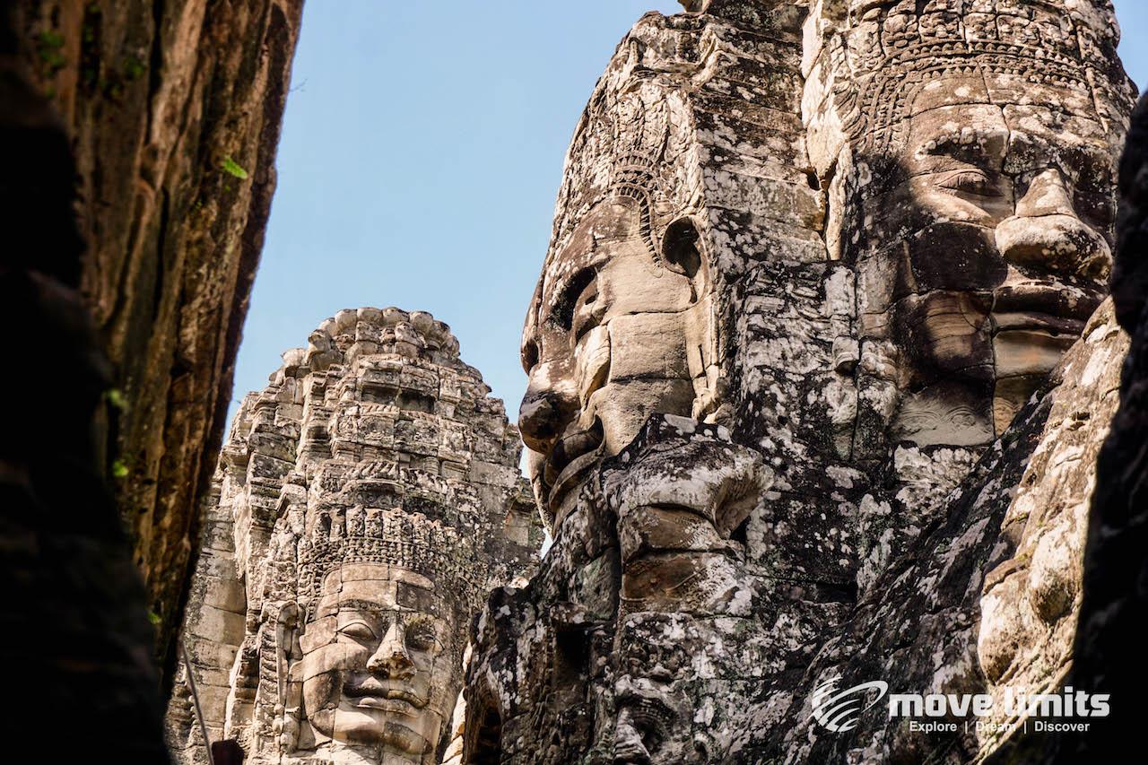 Angkor Thom und Angkor Wat - movelimits.de - Die Gesichter am Bayon Tempel